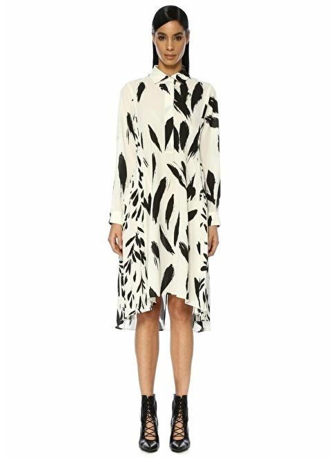 Beymen Collection Uzun Kollu Gizli Patlı Elbise Ekru